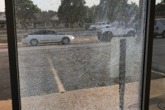 Example of how film can hold broken glass in place
