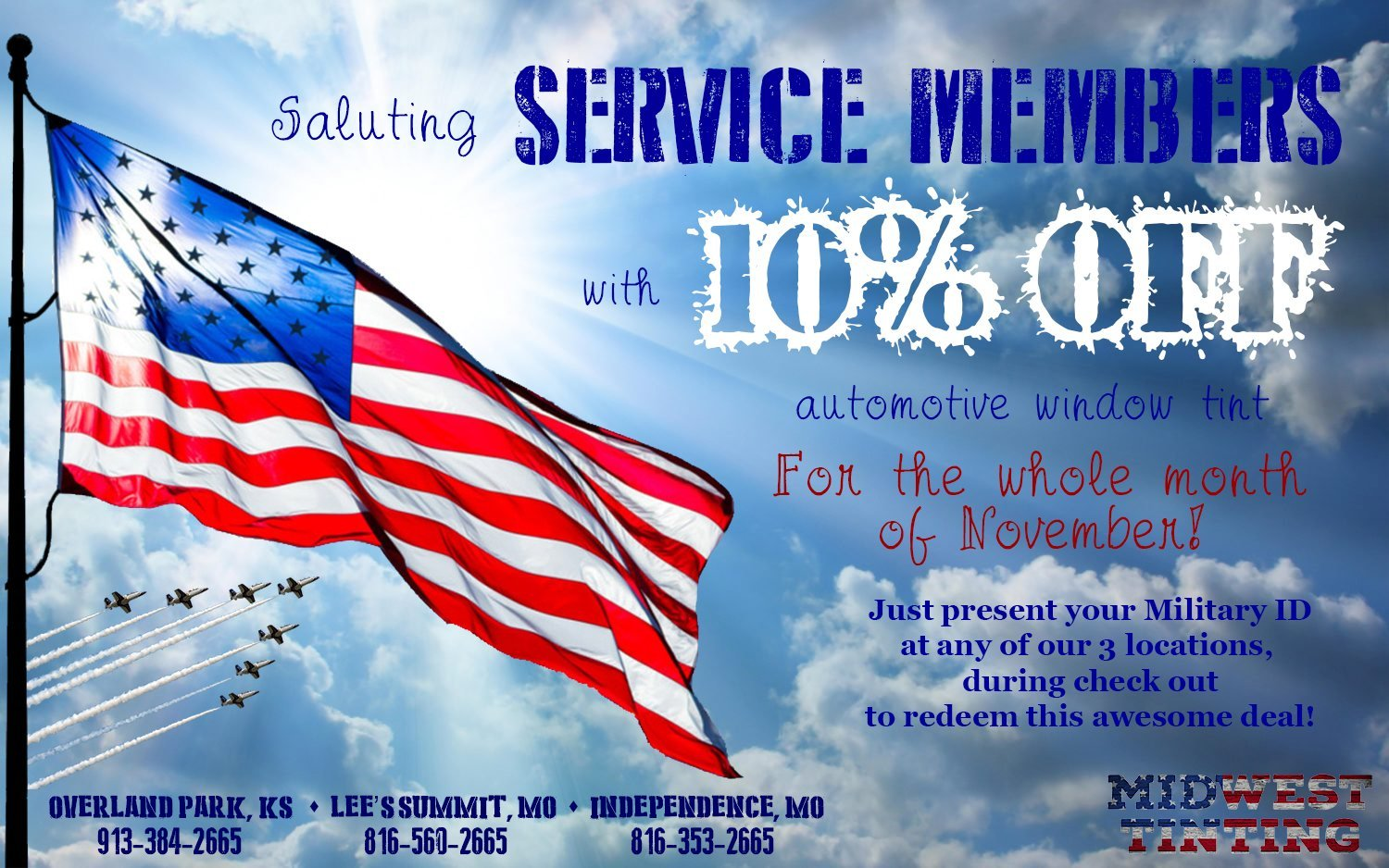 Midwest Tinting Salutes Kansas City Area Service Members with 10% OFF for the month of November